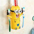 Детский Диспенсер для зубной пасты Миньен желтый + держатель зубных щёток, фото 3