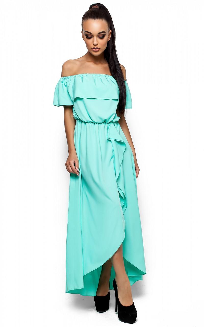 Платье в пол с разрезом спереди и воланом Karree Астарта ментол