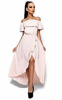 Платье в пол с разрезом спереди и воланом Karree Астарта персик