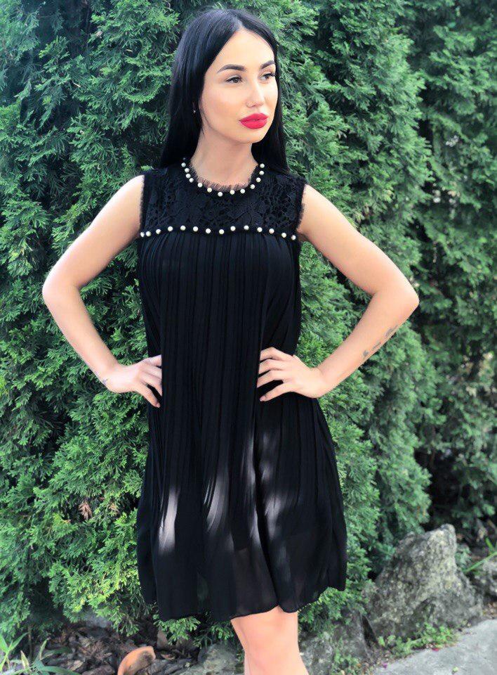 691c937165f06d0 Восхитительное, женское платье из плиссированного шифона с кокеткой из  гипюра и жемчуга. РАЗНЫЕ ЦВЕТА