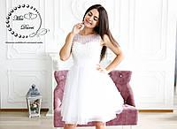 Короткое свадебное платье расшитое бусинами белое, фото 1