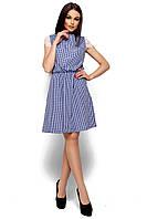 Легкое летнее платье в мелкую клетку Karree Эльза синее