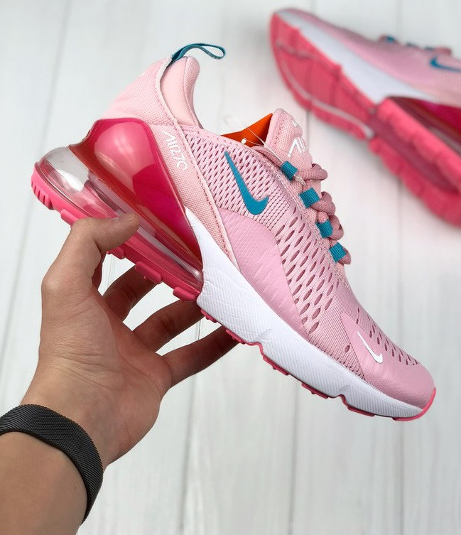 Кроссовки Nike Air Max 270 Pink/White/Blue. Топ качество! Живое фото (Реплика ААА+)