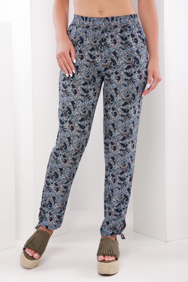 Легкие женские летние брюки на резинке с узором черно-бирюзовый ... 1bab8699152c4