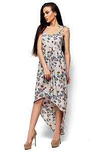 Платье длинное на тонких бретелях-завязках с глубоким декольте и асимметричным низом ментол