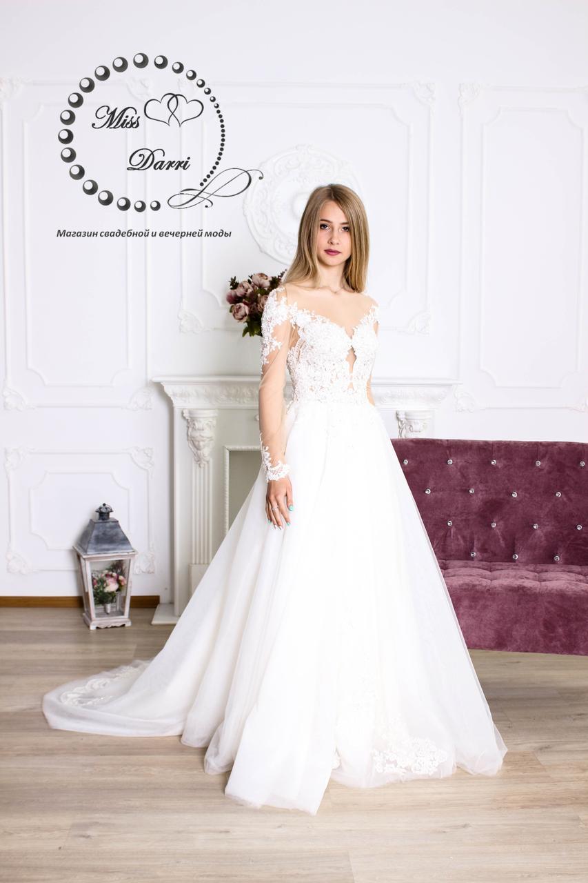 Свадебное платье с открытой спинкой и рукавами айвори