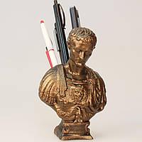 Бюст Цезаря - подставка под ручки, изготовлен из скульптурного гипса, бронзового цвета, фото 1