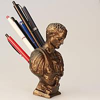 Подставка под ручки Цезарь, бюст из гипса, под бронзу