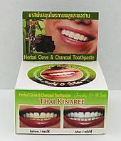 Травяная тайская зубная паста с бамбуковым углем. Thai Kinaree Herbal Clove & Charcoal Toothpaste. 25 гр.