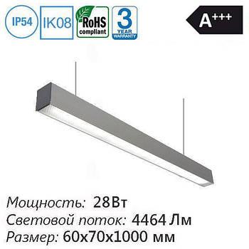 Офисный светодиодный светильник подвесной (накладной) линейный 28 Вт 4464 Лм 60х70х1000мм