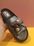 Кожаные шлепанцы цвета никель , копия, фото 2