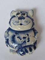 Кот  синий (магнит) (Гжель)