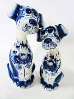 Пара Собак большая синяя (Гжель)