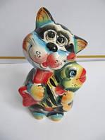 Кот Рыболов цветной (Гжель)