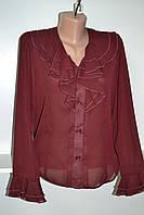 Женская блуза бордового цвета с длинным рукавом