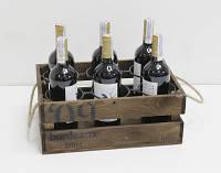 Подставка винная ящик для вина на 6 бутылок КОРИЧНЕВО-БЕЛЫЙ