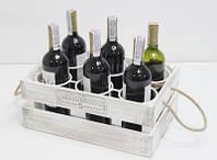 Подставка винная ящик для вина на 6 бутылок БЕЛО-КОРИЧНЕВЫЙ