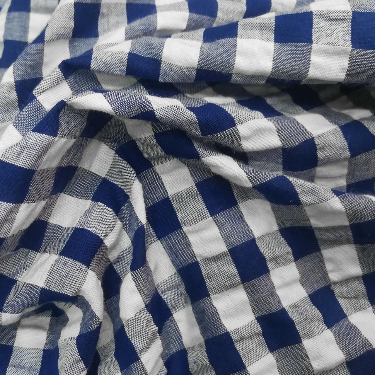 Рубашечная ткань клетка 10мм синяя с белой