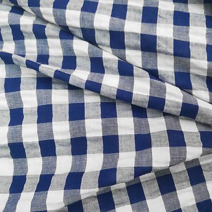 Рубашечная ткань клетка 10мм синяя с белой, фото 2