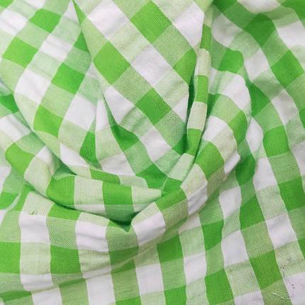 Рубашечная ткань клетка 10мм салатовая с белой, фото 2