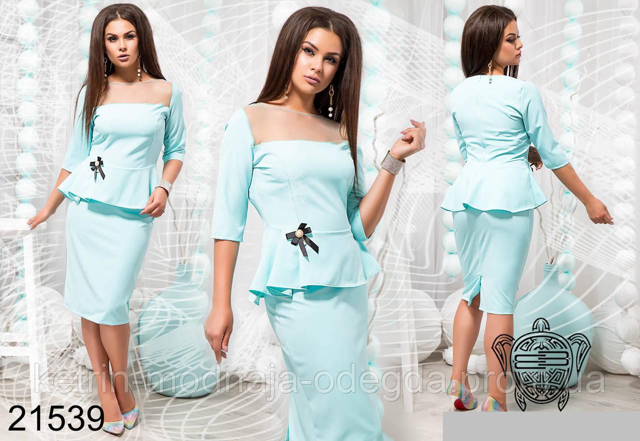 3a33fc996cc Элегантный нарядный женский костюм с юбкой больших размеров 48 - 54 ...