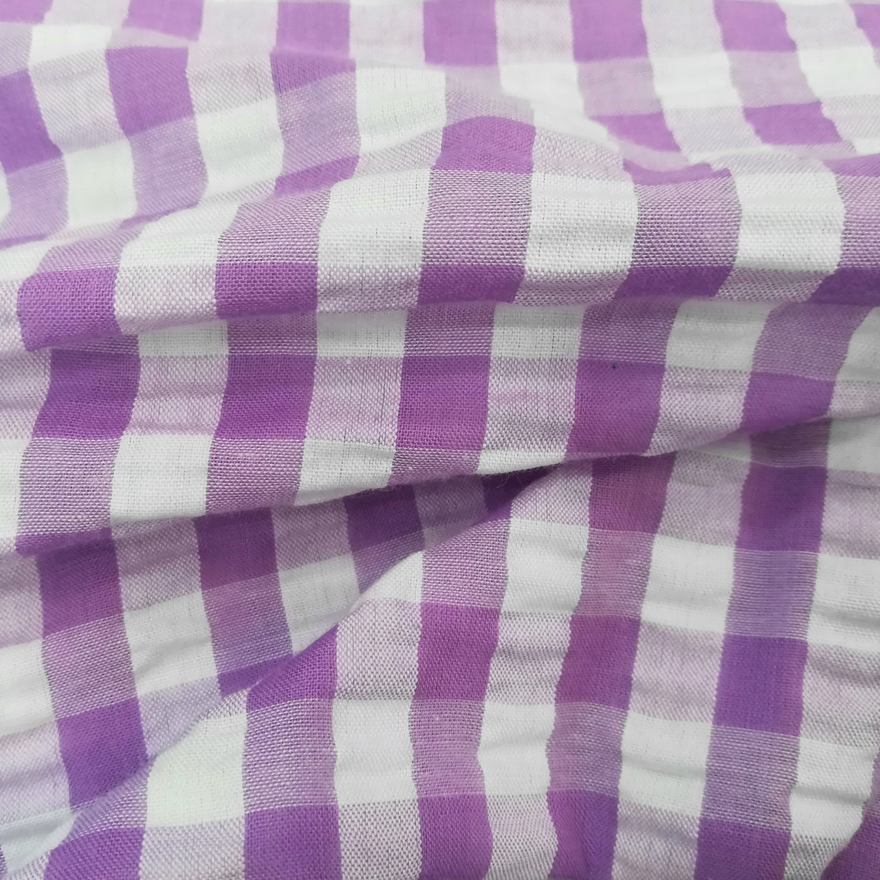 Рубашечная ткань клетка 10мм сиреневая с белой