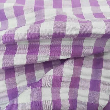 Рубашечная ткань клетка 10мм сиреневая с белой, фото 2