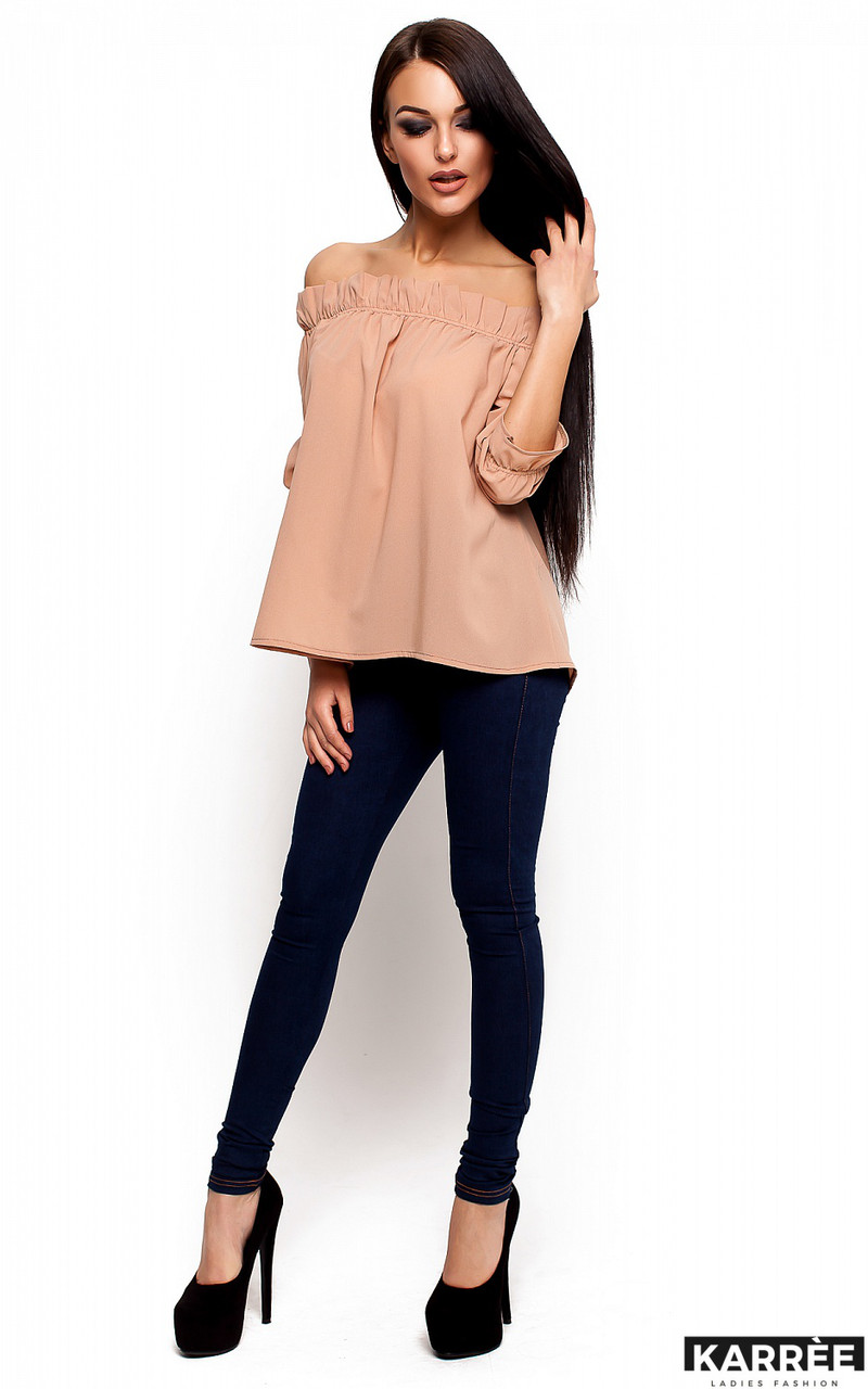 Блуза прямого кроя с открытыми плечами и рукавом 3/4 Karree бежевая