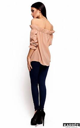 Блуза прямого кроя с открытыми плечами и рукавом 3/4 Karree бежевая, фото 2