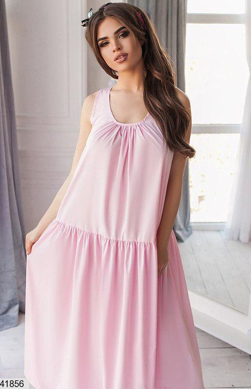 Красивое длинное платье без рукав коттоновое широкое нежно розовое