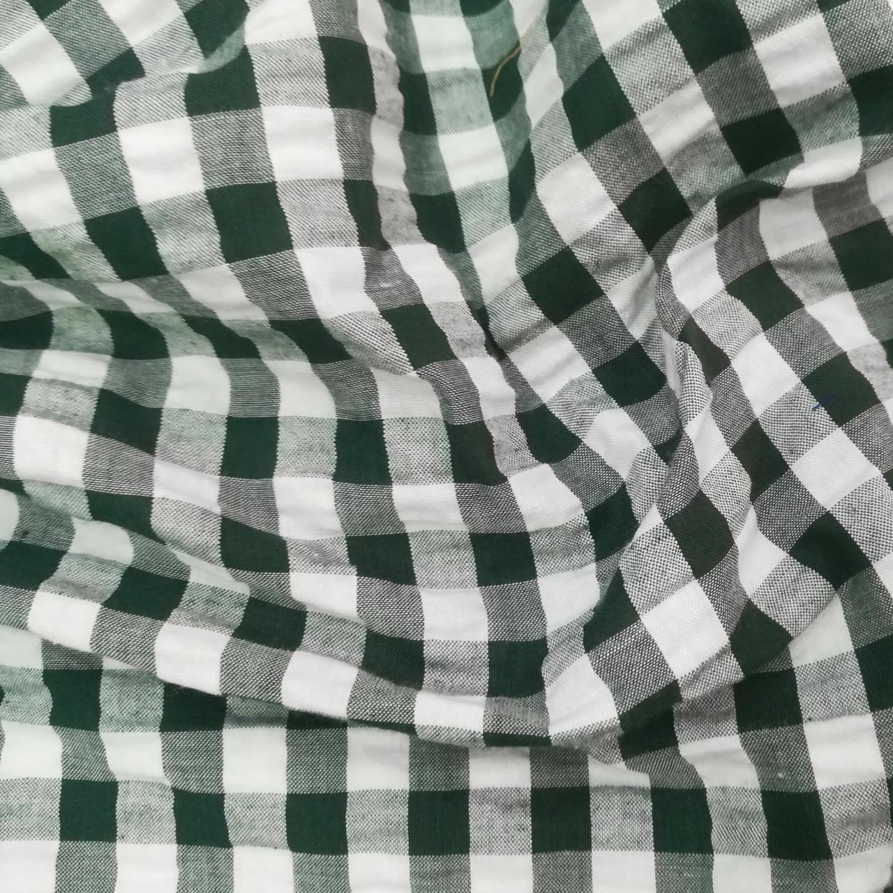 Сорочкова тканина клітина 10мм темно-зелена з білою