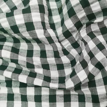 Сорочкова тканина клітина 10мм темно-зелена з білою, фото 2