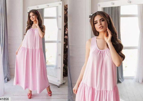 Красивое длинное платье без рукав коттоновое широкое нежно розовое, фото 2