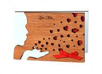 """Открытка из дерева для любимого  """"Воздушный поцелуй"""""""