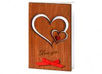 """Стильные открытки из дерева для любимой/любимого  """"Два сердца"""", фото 1"""