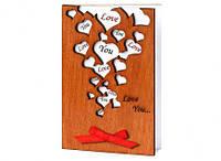 """Открытка ручной работы  """"Люблю тебя.Много сердечек"""" сувенир на день Святого Валентина, фото 1"""