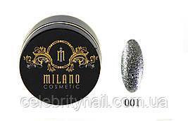 Глиттер-гель DIAMOND, 10G MILANO 001