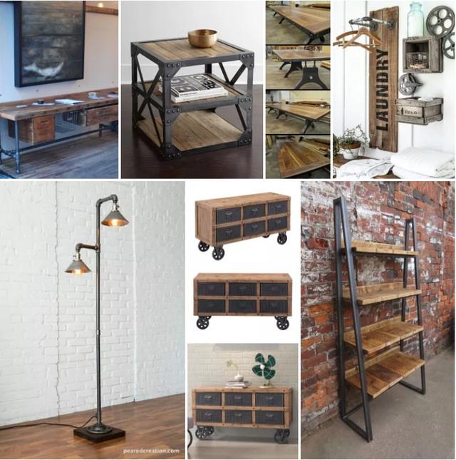 Металлическая и деревянная мебель в стиле лофт