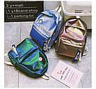 Блестящий рюкзак школьный, городской синий., фото 3
