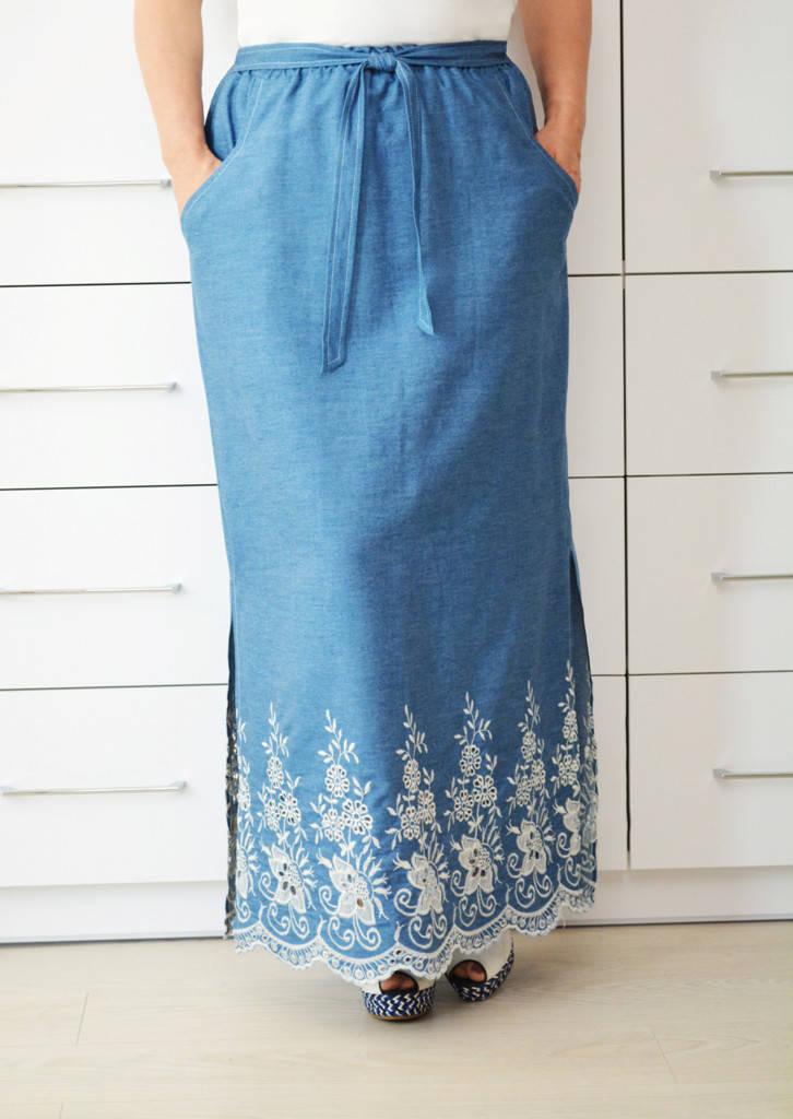 Юбка джинс с вышивкой - Модель 1662-2