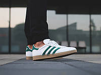 Мужские кроссовки Adidas Gazelle Leather Vintage White/Green (Реплика)