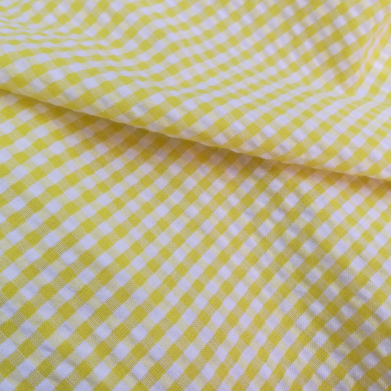 Рубашечная ткань клетка 5мм (желтый / белый)