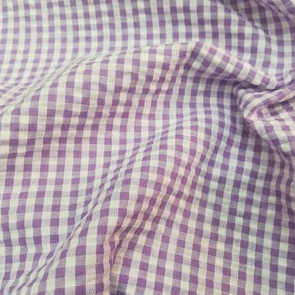 Рубашечная ткань клетка 5мм (сиреневый / белый), фото 2