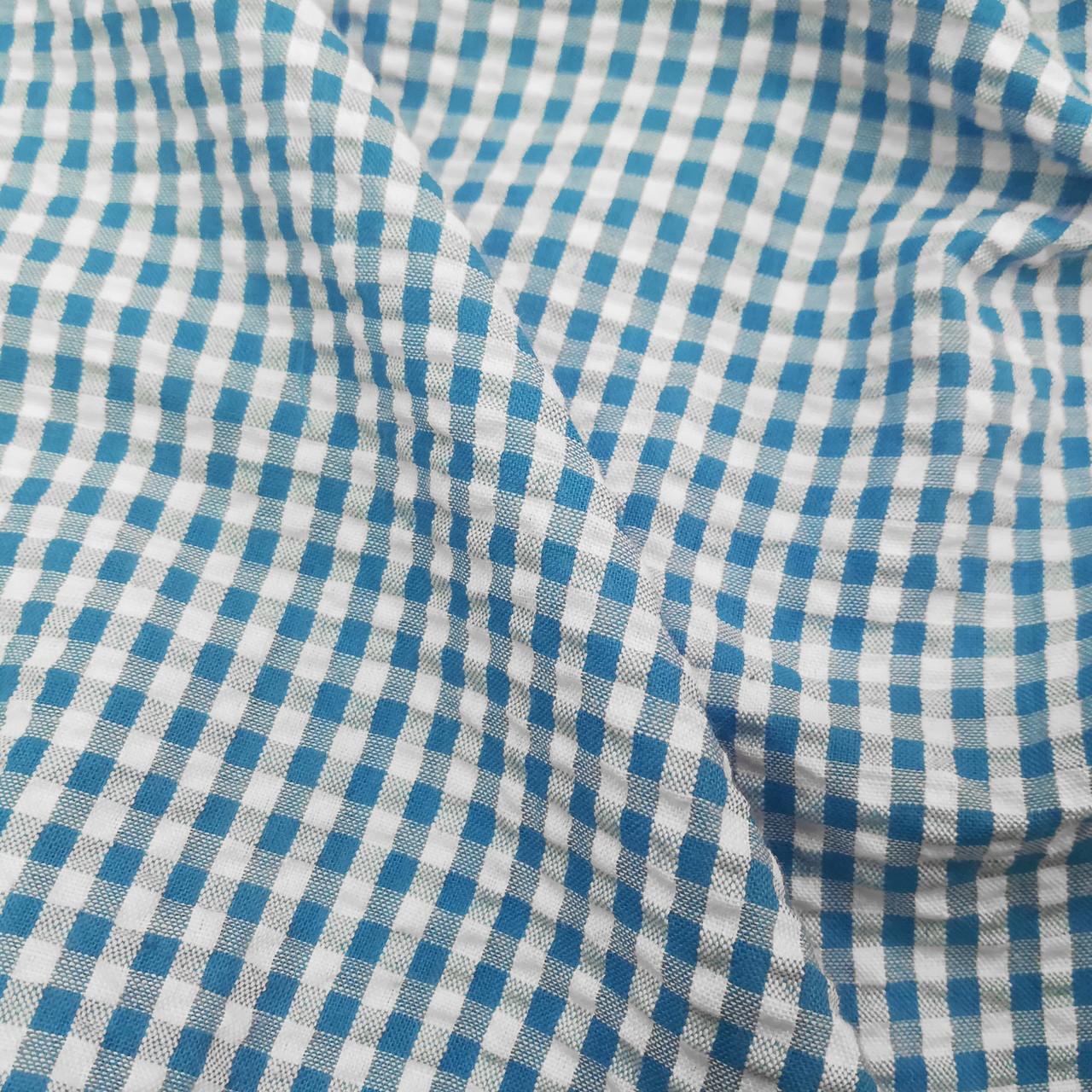 Рубашечная ткань клетка 5мм (голубой / белый)