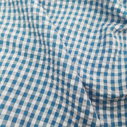 Рубашечная ткань клетка 5мм (голубой / белый), фото 2