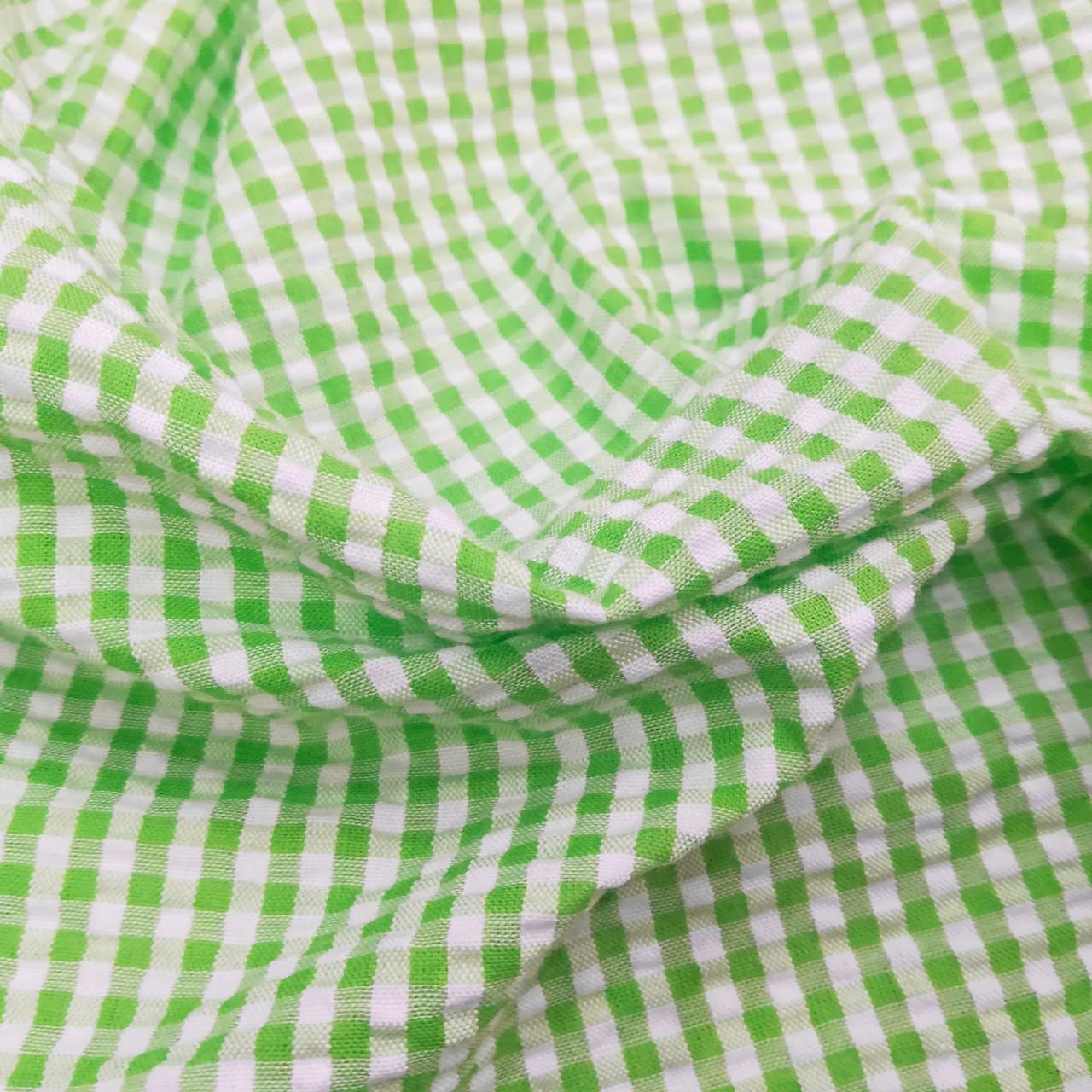 Рубашечная ткань клетка 5мм (салатовый / белый)