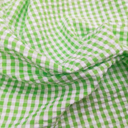 Рубашечная ткань клетка 5мм (салатовый / белый), фото 2