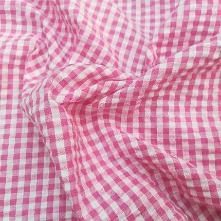 Рубашечная ткань клетка 5мм (малиновый / белый), фото 2