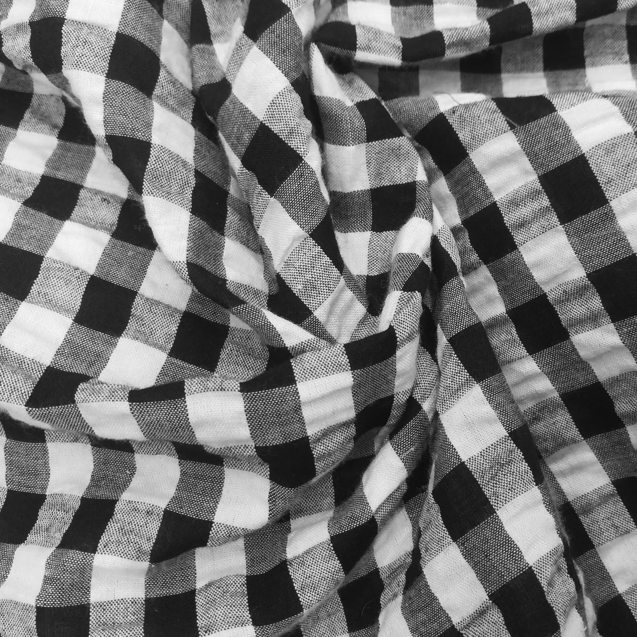 Рубашечная ткань клетка 1см (черный / белый)