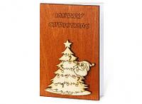 """Прикольные открытки из дерева """"Merry Christmas"""" новогодние сувениры"""